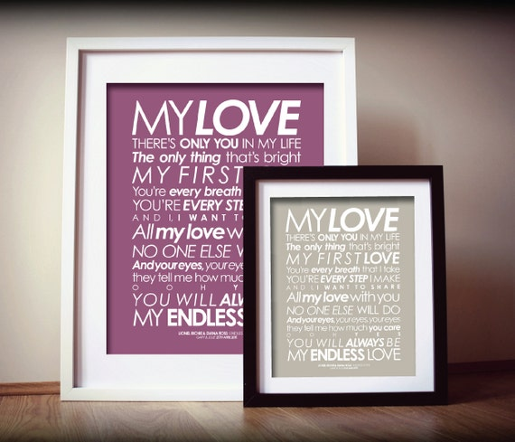 Lionel Richie 'Endless Love' lyrics with by TheDaisyHillShop