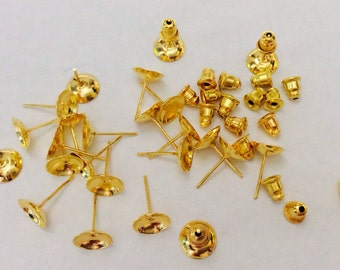 100 pcs 8 mm Golden Earring Component with back,golden earring post,golden finding,6 mm golden earring blank,golden ear nut,golden ear stud