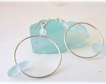 Sea glass earrings. Silver hoops. Maine Jewelry. Sea glass jewelry. Beach glass. Hoop earrings. Sea glass and gemstone earrings.