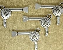 BULK 40 Hair drier charm/ Hairdresser Blow Dryer Charms. Antique SILVER.