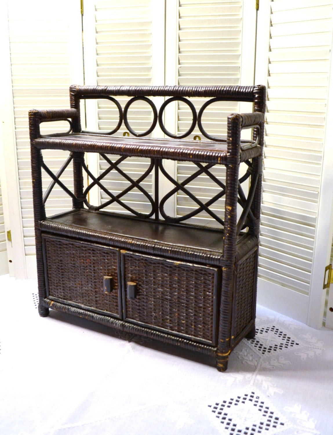 vintage wicker shelf cabinet brown bathroom decor panchosporch
