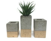 "Square Concrete Planters / Vase. (set of 3). GOLD. Enter Promo code ""LOVE1"" to recieve 10% off entire order."