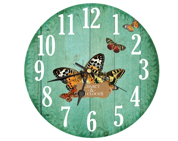 Items similar to Butterfly Clock. Vintage clipart collage ...
