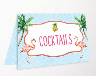 Flamingo Tent Cards Place Cards Food Labels Buffet Printable Instant Download Editable Tropical Pineapple Palm Tree Word Document & JPEG