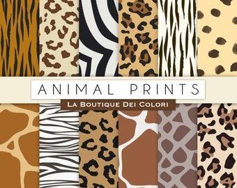 Animal prints digital paper. Safari Scrapbook paper pack. tiger skin, leopard dots, zebra stripes background pattern. commercial use clipart