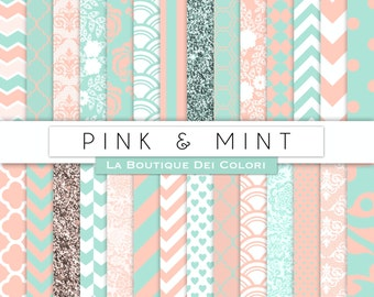 Pink and mint Digital Paper. Digital mint and pink  paper,  weddingscrapbook paper patterns, Instant Download for Commercial Use