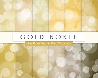 Gold Bokeh digital paper. Dots digital papers: Bokeh background scrapbooking, printables, Commercial Use. gold, yellow, golden