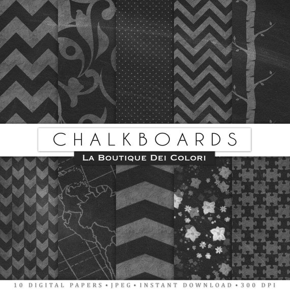 22 Real Chalkboard digital paper Black and Green Printable