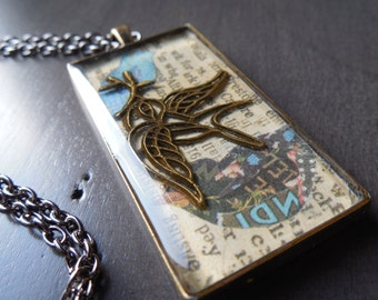Bird pendant, vintage inspiration, rectangular pendant, chain included, bird necklace
