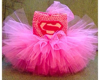 Pink superman/superwoman tutu dress, newborn to 4yo