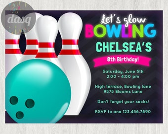 PRINTED  Bowling Invitation-Printable Bowling Invitation-Bowling-Bowling Birthday-Bowling Ball-Bowling Invite-Bowling Party
