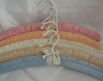 Set of Five Vintage Silk Hangers in a Vatiety of Colors