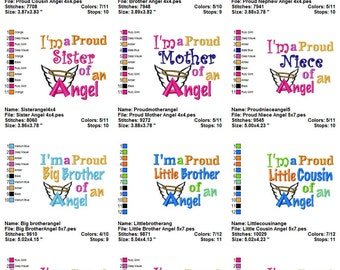 Instant Download: I'm a Proud Angel Embroidery Design Collection I