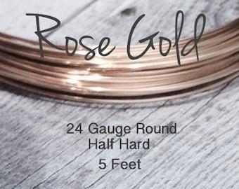 15% Off SALE!! 14K ROSE Gold Filled Wire, 24 Gauge, 5 Feet WHOLESALE, Round, Half Hard