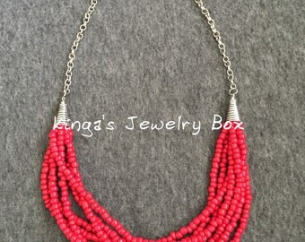 Red Statement necklace, seed beads,