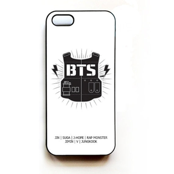 BTS Bangtan Boys Logo (WHITE) iPhone Hard Case Cover for iPhone 4/4s/5 ...