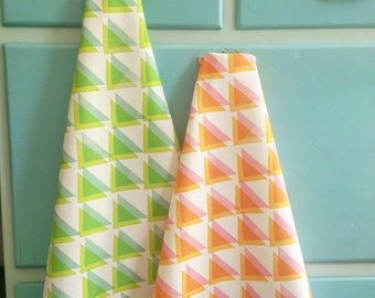 Tea towel, geometric triangles pattern by MaggieMagoo Designs, designed and printed in the UK