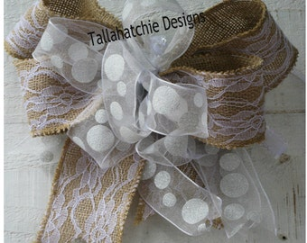 burlap wedding bow rustic burlap bow wedding pew bows burlap and lace wedding bow