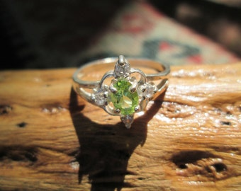Peridot  and Sterling Silver Ring Size 8