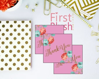 Floral Pink Favor Tags - Modern Flower Thank You Tags