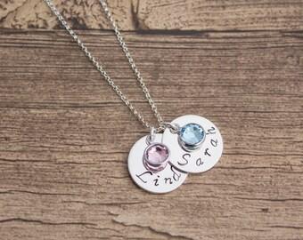 Sterling Silver Name Tag Birthstone Necklace- Handstamped