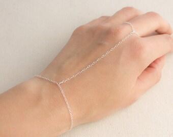 Sterling Silver Hand Chain Finger to Wrist Slave Bracelet