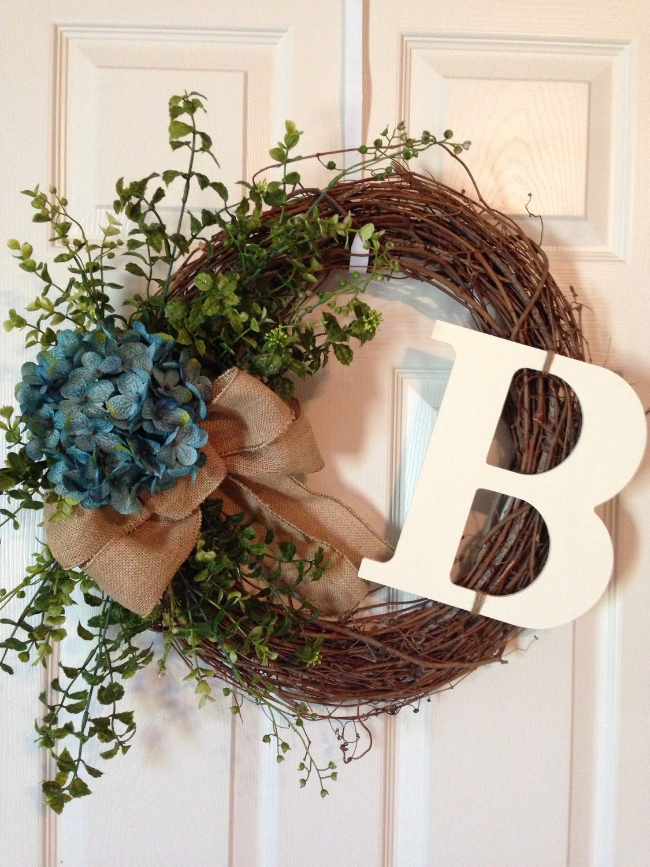 Hydrangea Summer Wreath Monogram Wreath Chevron Wreath Year