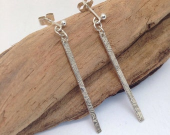 Handcrafted Fine Silver Drop Earrings