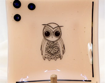 Handmade Fused Glass Plate - Square Fused Glass Plate - Champagne Plate w/ Owl - Fused Glass Owl Plate