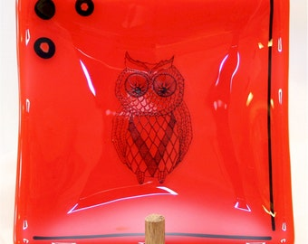 Handmade Fused Glass Plate - Square Fused Glass Plate - Orange Plate w/ Owl - Fused Glass Owl Plate