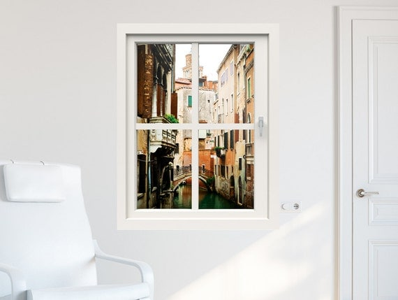 3D window wall decal window to Venice, wall stickers for living room, wall  mural