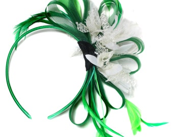 Emerald Green & White Feathers Fascinator on Headband