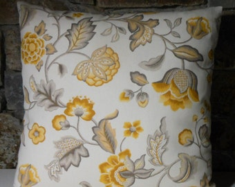 "Yellow Grey Palampore Floral Jacobean Pillow Cover//20"" Throw Pillow"