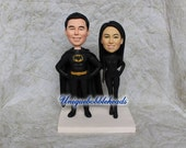 batman wedding cake topper, bride and groom cake topper, batman, superhero, custom bride cake topper, groom cake topper,superman