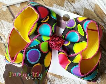 Polka Dot Black Hairbow Pink Purple Yellow Lime Turquoise Yellow Large Exlarge