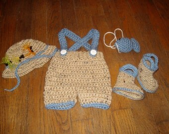baby boy hat fisherman/angler hat, shorts with suspenders,rain boots and little blue fish photo prop-crochet