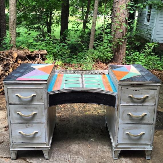 Items similar to boho painted vintage vanity desk bohemian - Vintage schminktisch ...