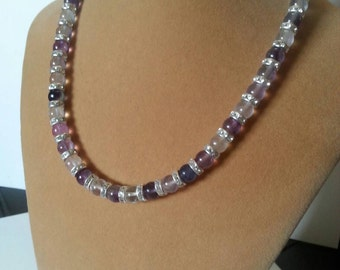 Fluorite and silver plated Swarovski Crystal Beaded Necklace