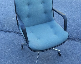 Vintage Steelcase Office Chair. Pollock Style Blue/Green Fabric.