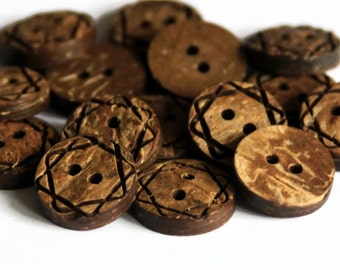20 Star Carved Buttons 15mm - Coconut Shell Button - Thick Brown Wood - Natural Wooden - Star Etched Pattern - Patterned Buttons - NW80