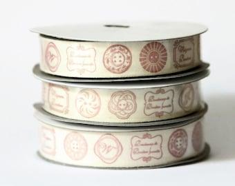 Zakka Ribbon French Button Pattern - 10 yard Spool - 15mm Width - Cotton Tape - Grosgrain Ribbon - Red and Cream Trim - Japanese Zakka - R24