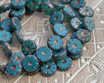 Persian Dark Turquoise Bronze 12mm Flower Coin Bead, Table Cut, Flat Round Czech Glass Beads x 4