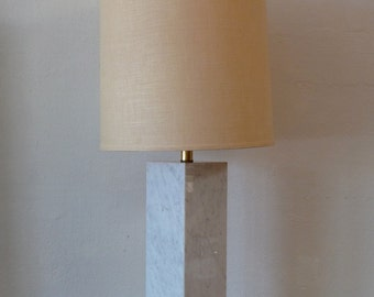 Mid Century Modern White and Grey Marble Table Lamp