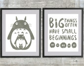 Totoro Art Print, My Neighbor Totoro Poster Set With Totoro, Soot Sprites and Big Things Often Have Small Beginnings, set of 2 - 8x10s