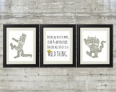 Gray and Gold 8x10 set of 3- Where The Wild Things Are Nursery Art  Printable Files