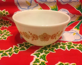 Vintage White 1.5 quart Pyrex mixing bowl with butterfly gold floral designs