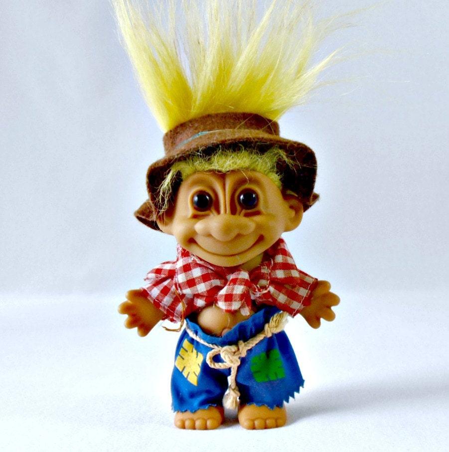 Vintage Russ Troll Doll Collectible Troll Farmer Troll Rope