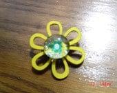 Yellow wooden flower pin glass center gift teen woman OOAKHandmade Jewelry