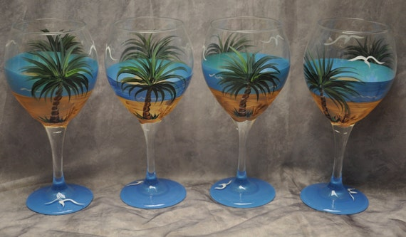 Tropical Palm Beach Wine Glasses Set Of 4 By