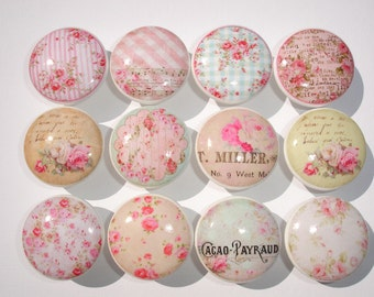 12 Shabby Pink Cottage Rose Dresser Drawer Knobs Group 1